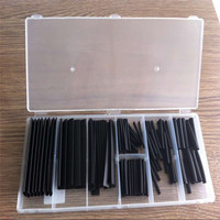 127PCS heat shrink wire wrap sleeves in see-through organizer case with snap-close lid