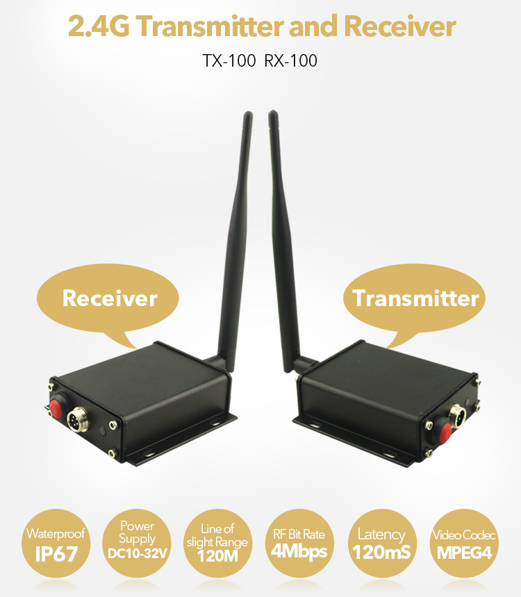 wireless receiver and transmitter boxes for wired cameras and monitors, for trailer and tractor use