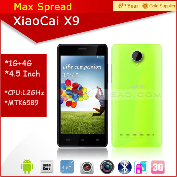 Hot sales!! Xiaocai X9 fashion color 5 inch Screen MTK6582 quad core dual sim dual camear custom android mobile phone