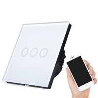 SHENMAO HOT SALE GLASS PANEL 3 GANG TOUCH WIFI LIGHT WALL SWITCH FOR WHOLESALERS