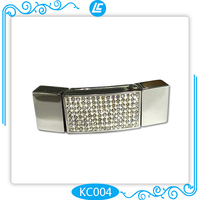 popular stainless steel magnetic buckle with shiny rhinestone crystal beads for jewelry findings