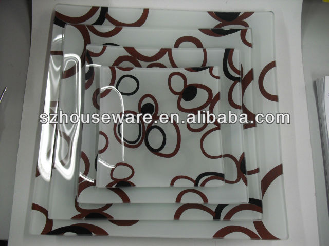 new style wholesale round shaped decal tempered glass plate set