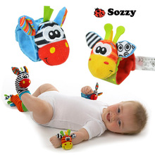 Baby Animal Watch Wristbands Socks Babybell toys with rattles Bells baby toys