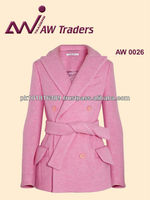 Women fashion wool coat with belt , fashion coat , wool coat