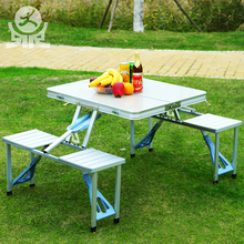 Custom-made outdoor furniture square foldable aluminium chair with table attached