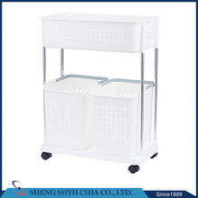 plastic basket shelf big wheel trolley bathroom storage rack