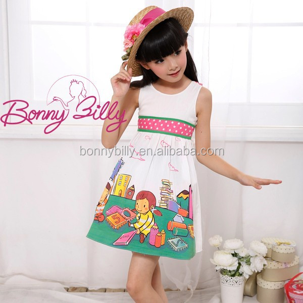 korean children clothing/models casual dresses for girls, printed childhood casual dress