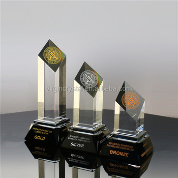 High quality trophy maker China crystal cylinder shape award with company logo