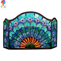 p-02 peacock stained fireplace screen stained glass tiffany design