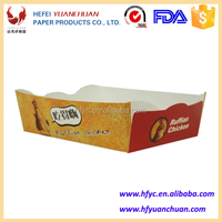 Fast food hot dog tray made of white cardboard paper