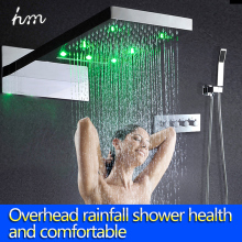 3 function stainless led top rain shower head color change hydro power led rain shower