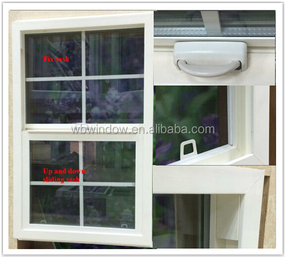 American style UPVC top hung sliding grill window, uPVC double hung window