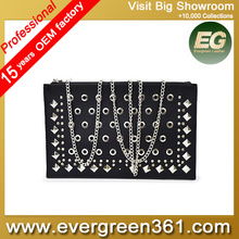 Girls Black clutch bag with rivets Punk style wallets cheap bags handbag SY7637