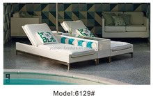 2pcs rattan poolside sunbed with umbrella holder & drink table 2 person wicker sunbed