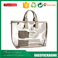 high quality clear plastic transparent shopping pvc tote bag