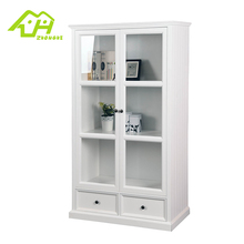 Classical high-quality wood bookcase with glass door model
