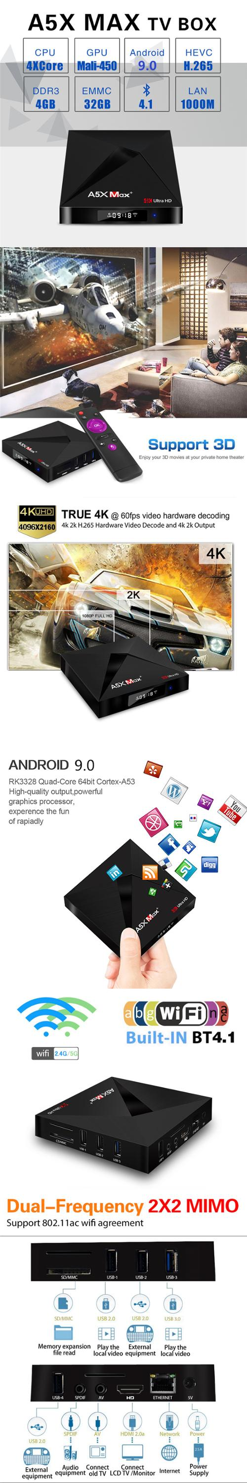 A5X MAX+ RK3328 android mini tv box with ott tv box 4G 32G android 9.0 android cable wireless mouse