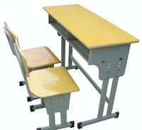 China made cheap school furniture Height adjustable wooden school chair and desk