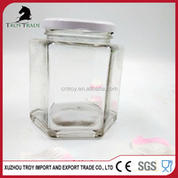 clear hexagonal glass honey jar with screen printing surface 700ml