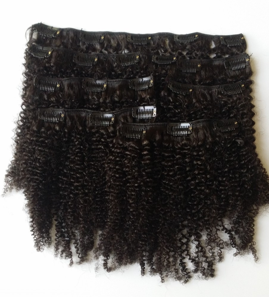 virgin natural afro kinky curly clip in hair extensions
