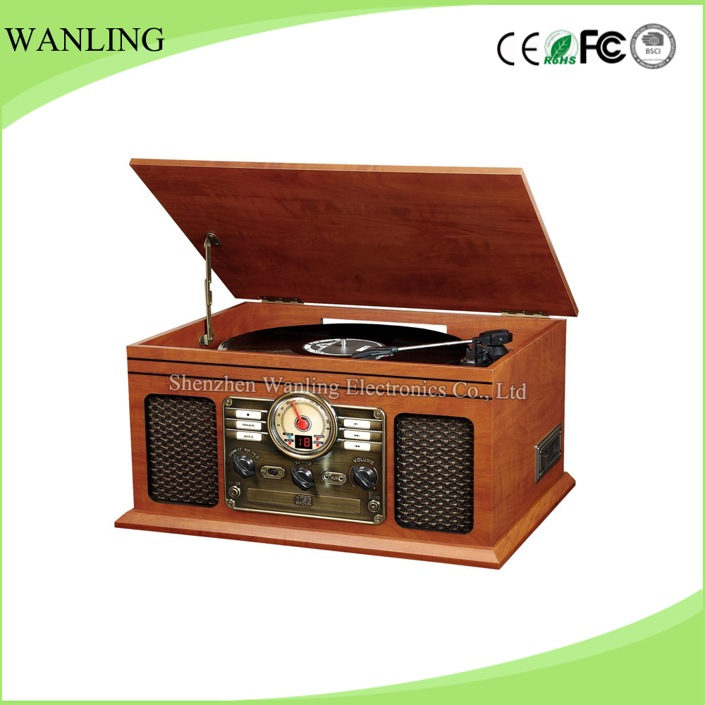 Wholesale classic vintage varnished radio vinyl record player CD gramophone player&digital turntable