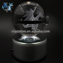 Amazing 3d crystal glass ball pokemon go snap with led base