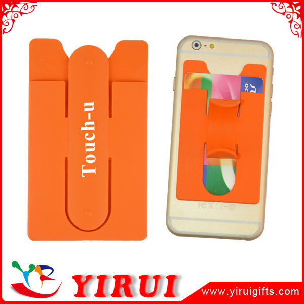 YJ017 Silicone self adhesive phone card pocket with stand