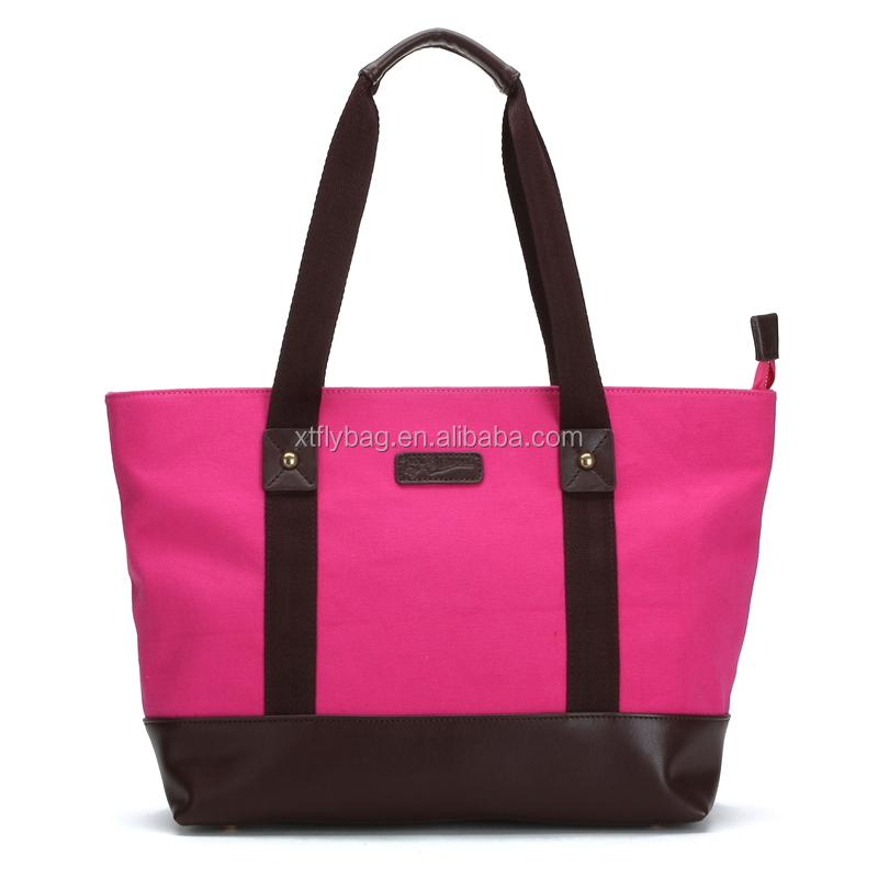 fashion pink thick canvas lady's tote bag with pu leather bottom and pp handles