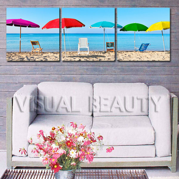 High Quality Long Beach Canvas Art For Home Decor Hang On the Wall
