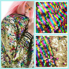 2016 hot-selling colorful facebook reversible mermaid shiny gold fish scale stretch sequin fabric for Christmas pillow cover