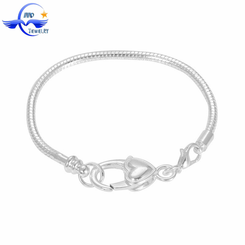 Love Heart Lobster Clasp European Bracelet Hand Chain for Men Fit Europe Fashion Long Charm Chain Bracelet