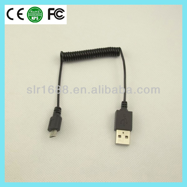micro usb to usb retractable spring wire coiled cable