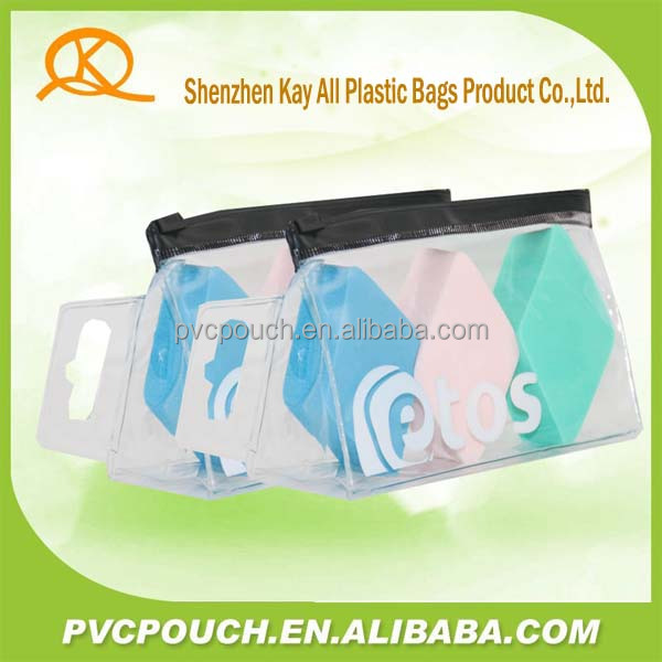Custom toiletry promotional Stand up cosmetic plastic zipper bag
