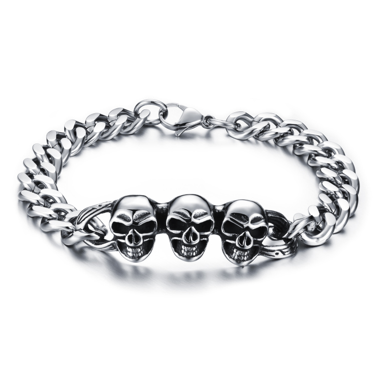 stainless steel skull bracelet hand chain for men