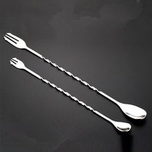 Bar Tools Cocktail Drinks Stirring Mixing Twisted Spoon & Trident Fork Pick