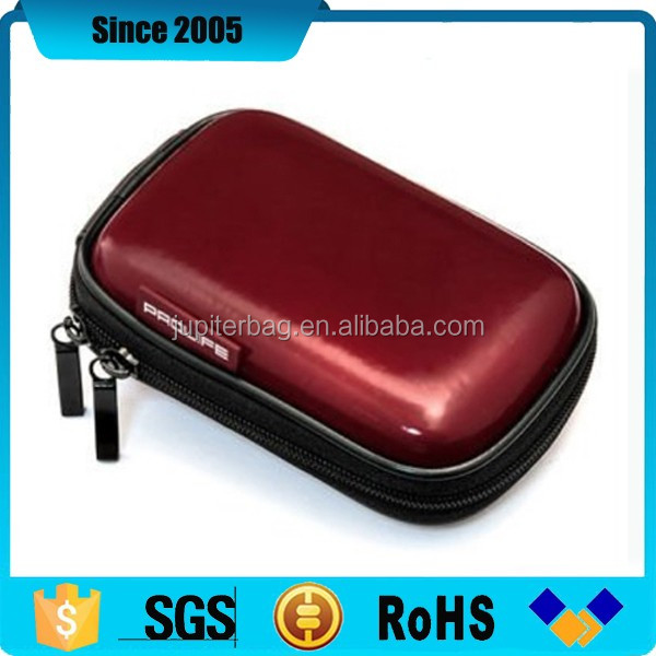 red shiny pu eva camera packaging case with two zipper pullers