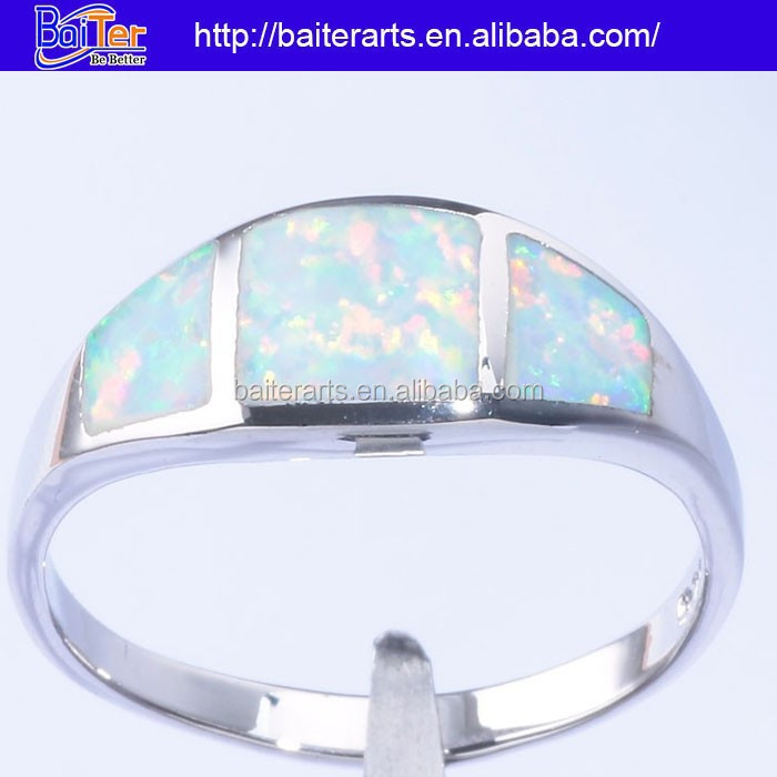 Hot custom 925 sterling silver jewelry fire opal purity band rings for teenage boys
