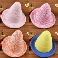 Fashion Novel Cute Long Peaked Top Kids Straw Caps Children Sun Hats