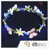 Original Design LED Artificial Flower Butterfly Wreath Hair Accessories For Girls on Wedding Occasion