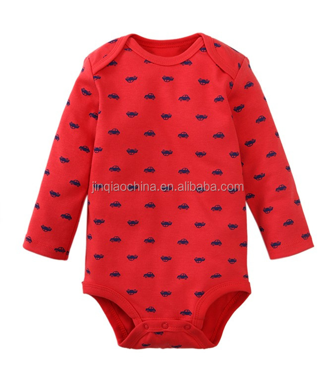 Organic cotton O Neck Red Color Unisex Baby Soft Romper Knitting Patterns For Baby Boy And Girl Romper