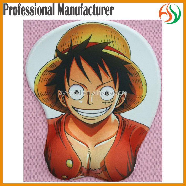 AY Japanese Anime ONE PIECE Luffy 3D Computer Mat Gel Wrist Rest Mouse Pad, Mouse Pad Sublimation Gel Mouse Mat, Mousepad