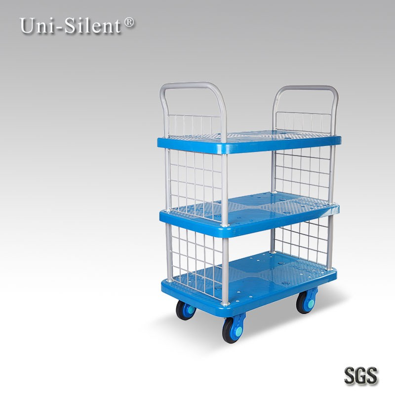 Handing Trolley (Plastic) Three Tier Library Use Hand Truck