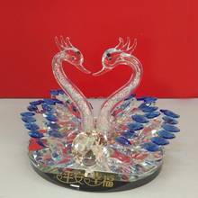 Wholesale double crystal glass Swan Valentine's Day gift, diamond anniversary souvenir decoration