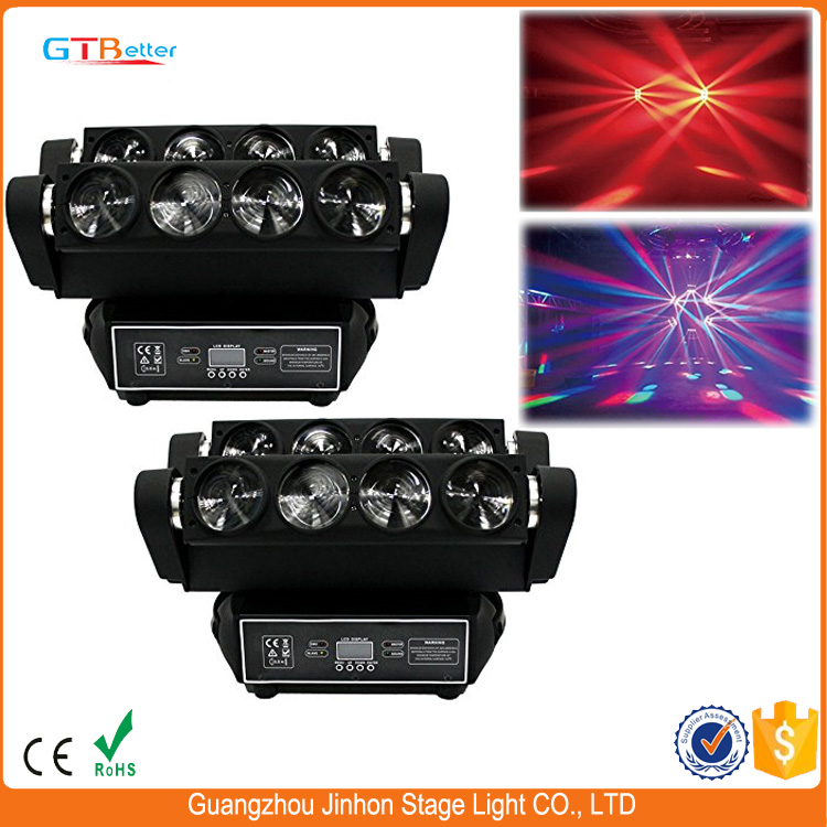 Mobile Lighting 8x10w Stage Beam Spider Moving Lights High Quality