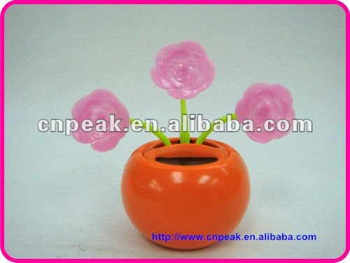 New crazy pink roses flip flap 3 flowers solar powered dancing toy