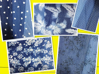 popular 100% cotton flower printed denim fabric rolls