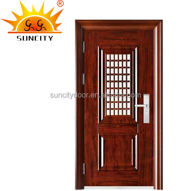 Interior hollow metal used metal security doors wood finish