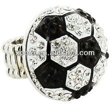 "Silvertone/1.25"" Soccer Ball/Comfort Stretch Band/Crystal Embellished/Finger Ring"