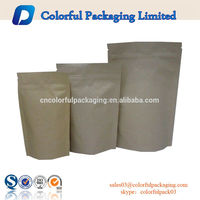 Plain cheap craft pouch with zipper brown paper bags wholesale