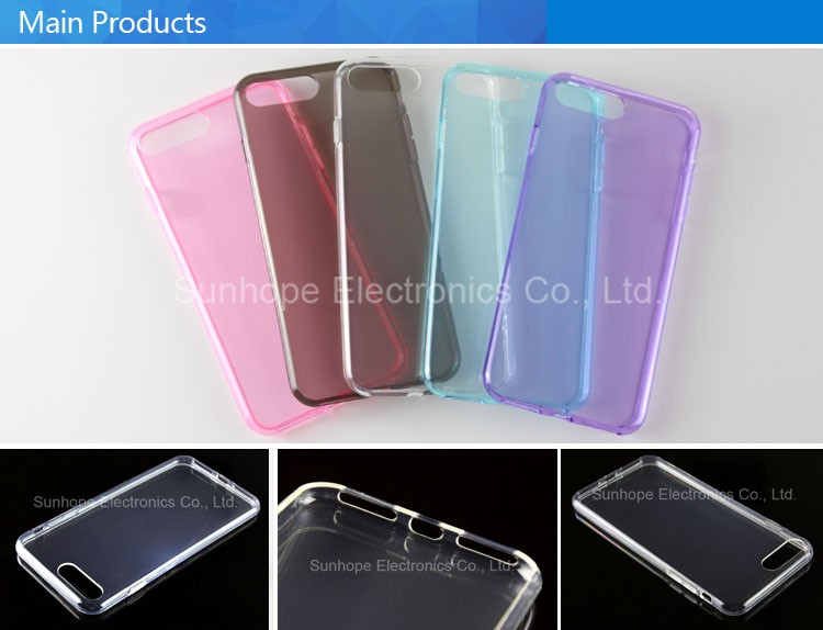 clear Transparent tpu soft cell phone cover for Iphone 7 plus phone skin